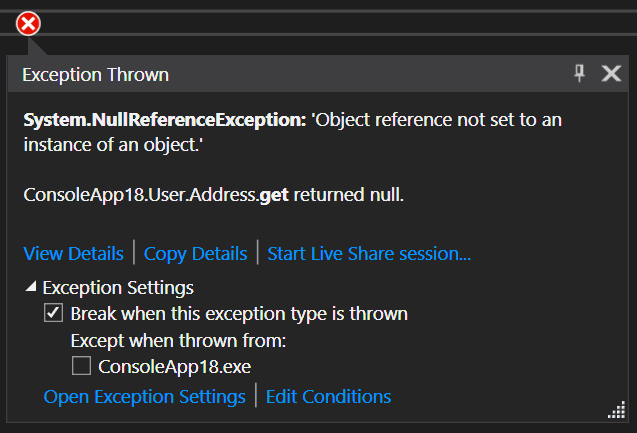 Exception Thrown Window