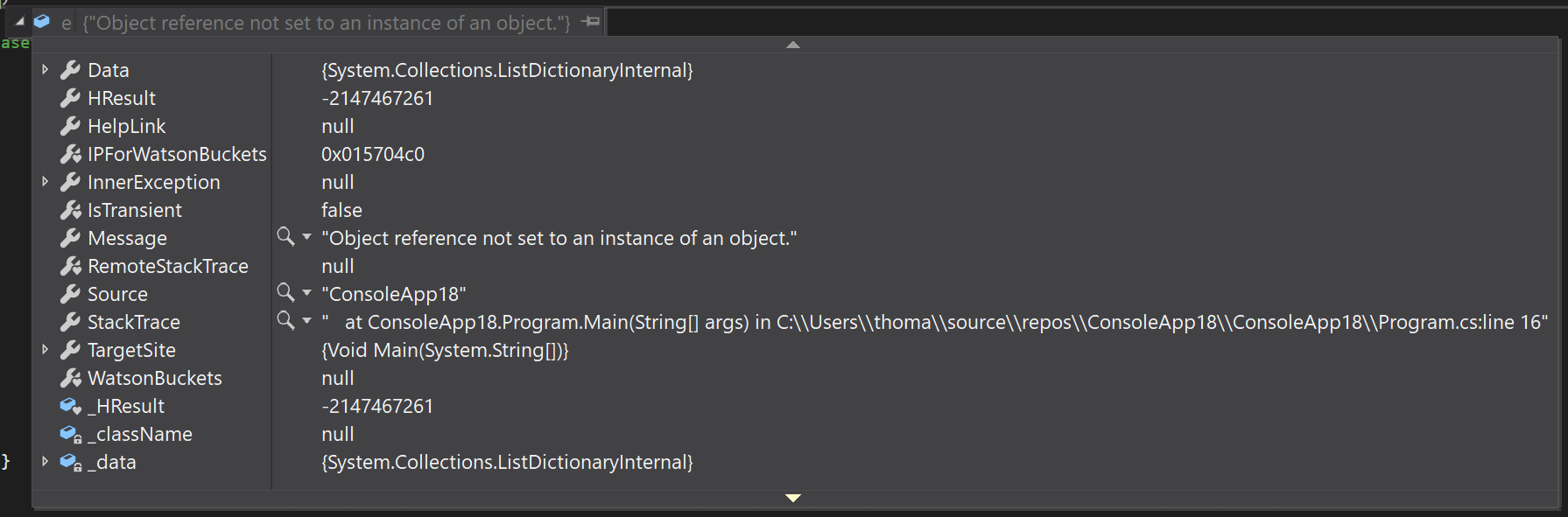 NullReferenceException in Visual Studio