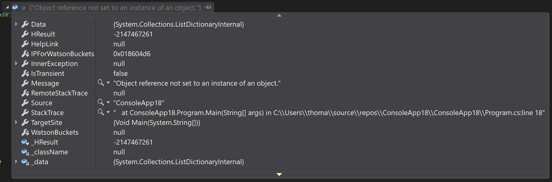 NullReferenceException in Visual Studio 2