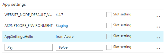 Override app setting on Azure