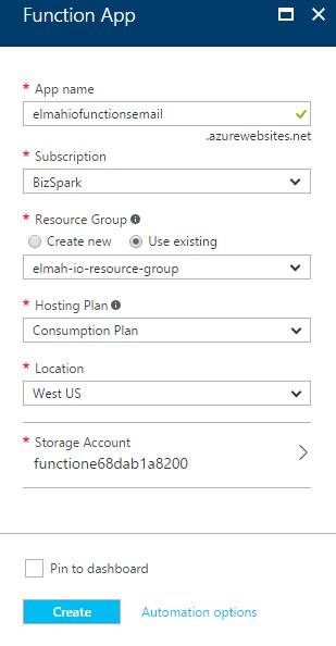Create Functions App