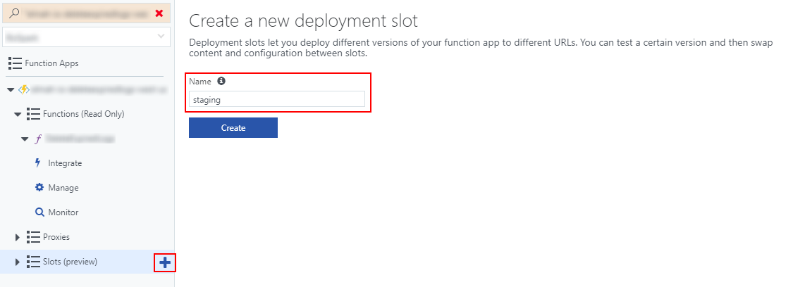 Create new deployment slot