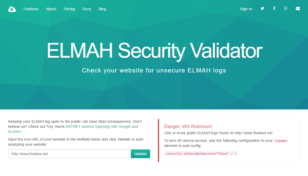 ELMAH Security Validator
