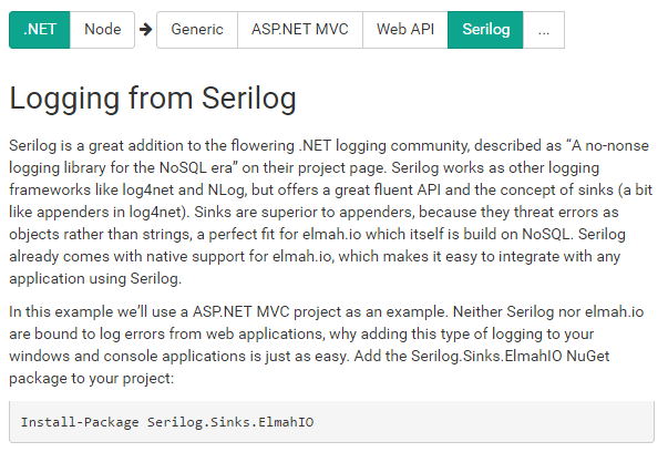 Installing using Serilog