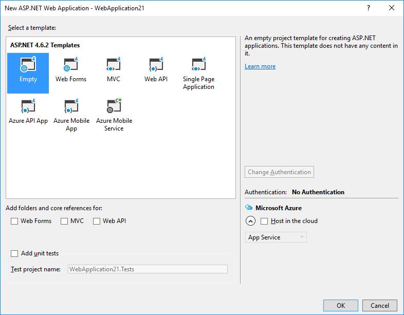 Create an empty ASP.NET project